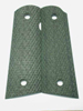 CS0488 - 1911 Green-Black Rhino Hide Grips without Pin Cut - Flat