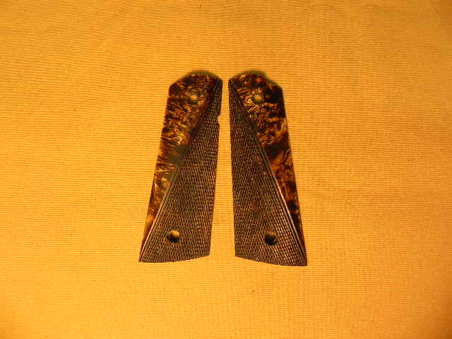 SUGBEBC1 - 1911 C&S Premium Handmade Box Elder Burl Chocolate Checkered Grips